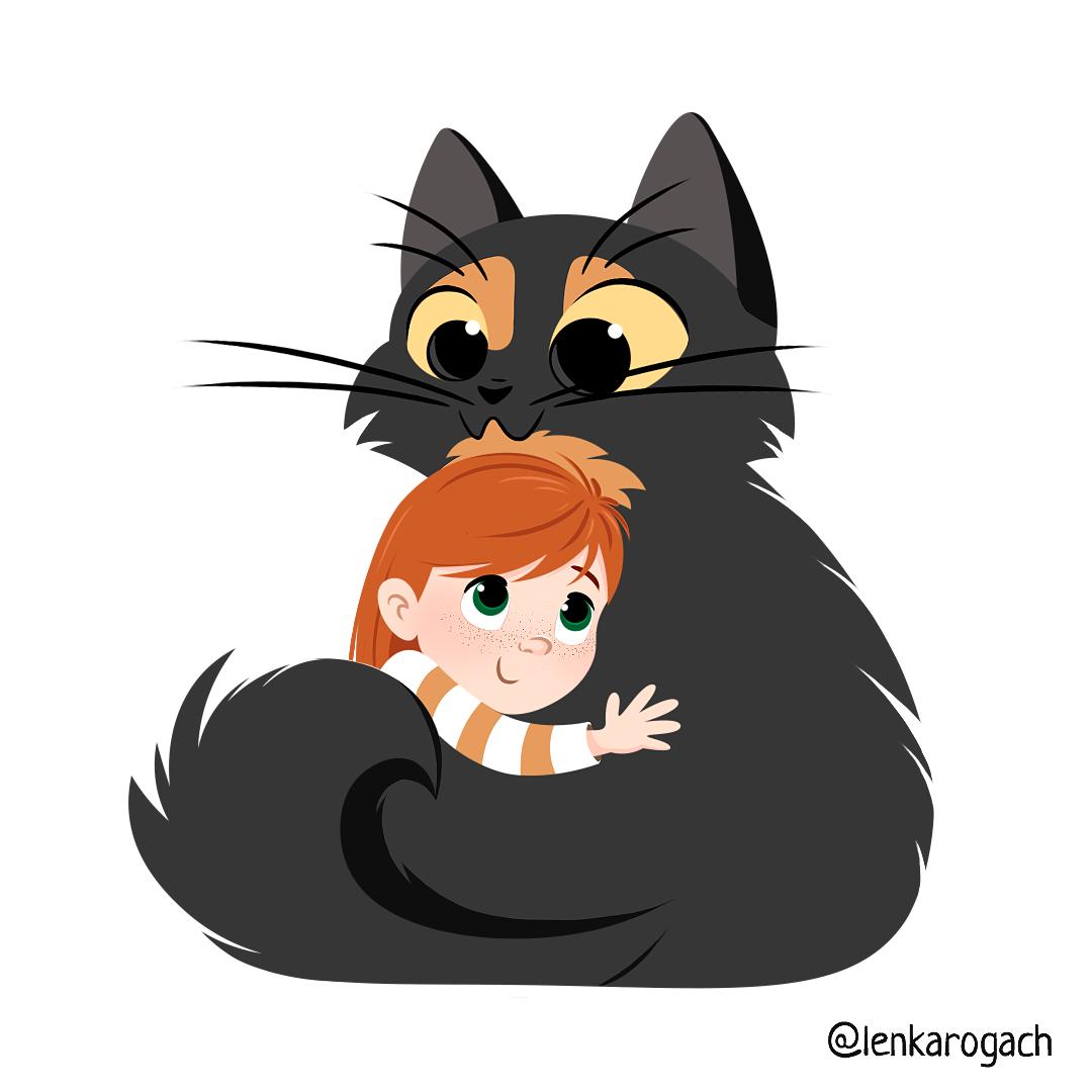 Hugs With A Cat Cat Catillustration Hug Cathug Cutecat Cutegirl Littlegirl Littlegirlillustration Cat Hug Draw Cute Baby Animals Cat Illustration