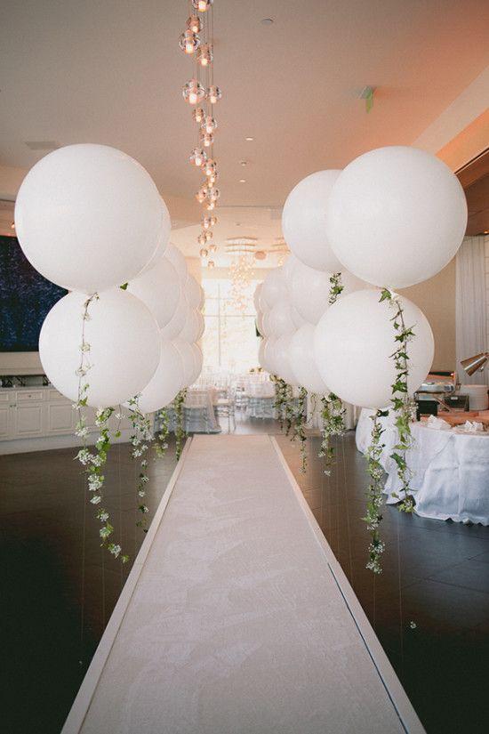 Diy balloon garland engagement party wedding engagement for Balloon decoration for wedding reception