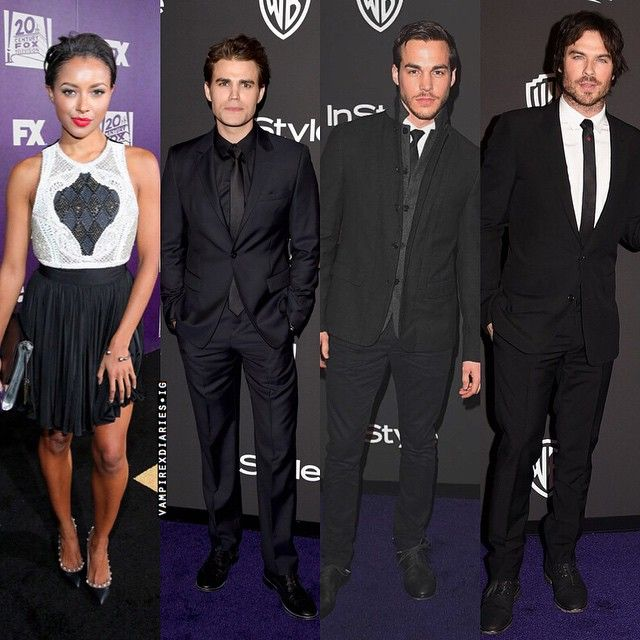 "@vampirexdiaries's photo: ""+ Dayum the whole cast was at the Golden Globes after party last night (Jan. 11th 2015)! . #paulwesley #katgraham #iansomerhalder #chriswood #tvd #vampirediaries #goldenglobes"""
