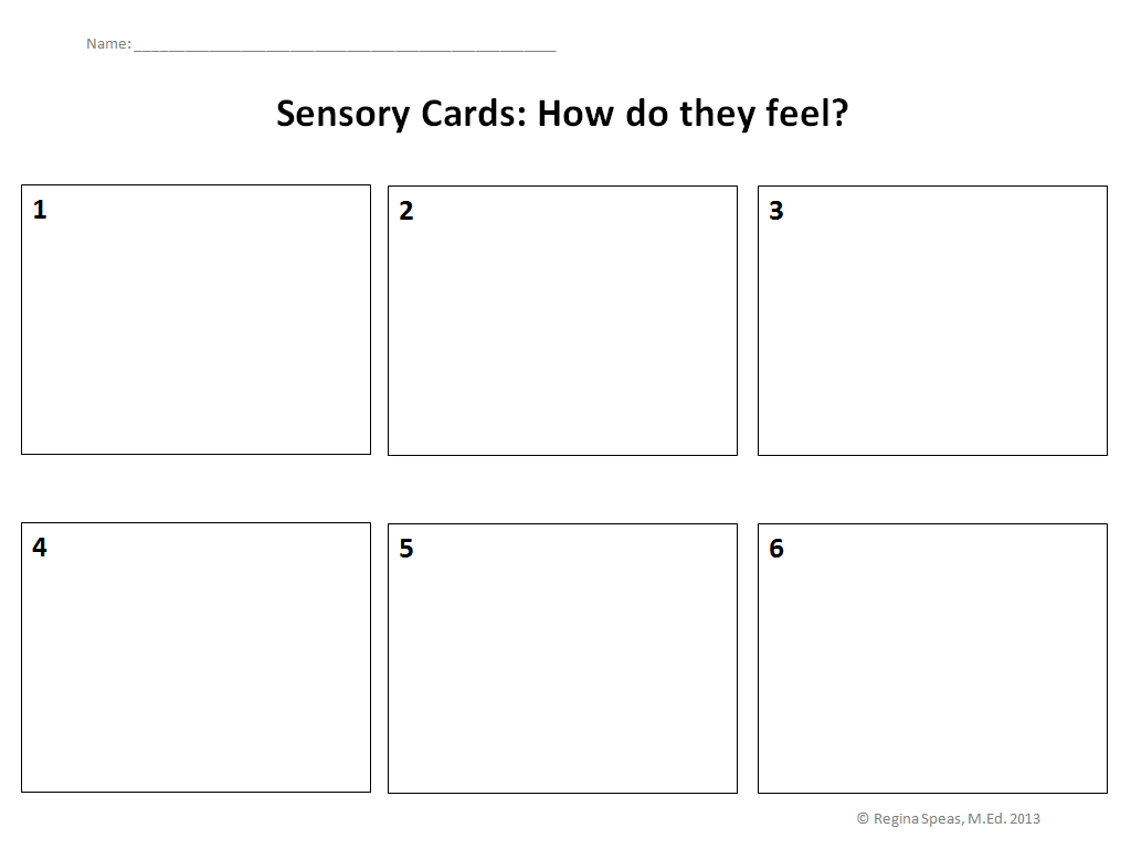 Sensory Card Printable Preschoolers Can Draw What They