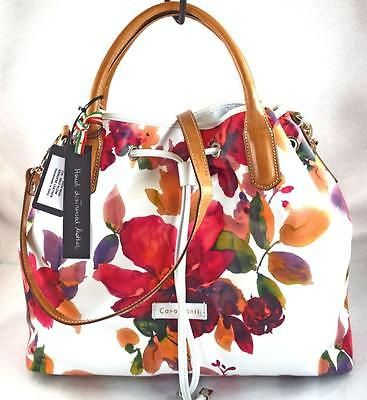 14af8ac34074 Authentic new nwt cavalcanti italian leather white pink floral tote ...