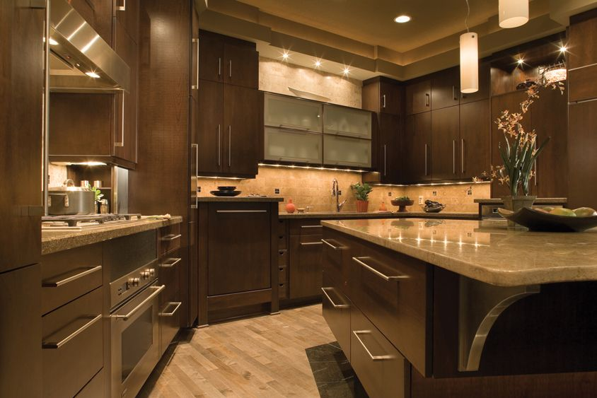 "Contemporary Kitchen Cabinets alectra cabinetry, ""camden"" door style, cherry, mocha finish"