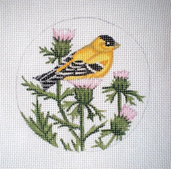 Handpainted GoldFinch Needlepoint Canvas by colors1 on Etsy