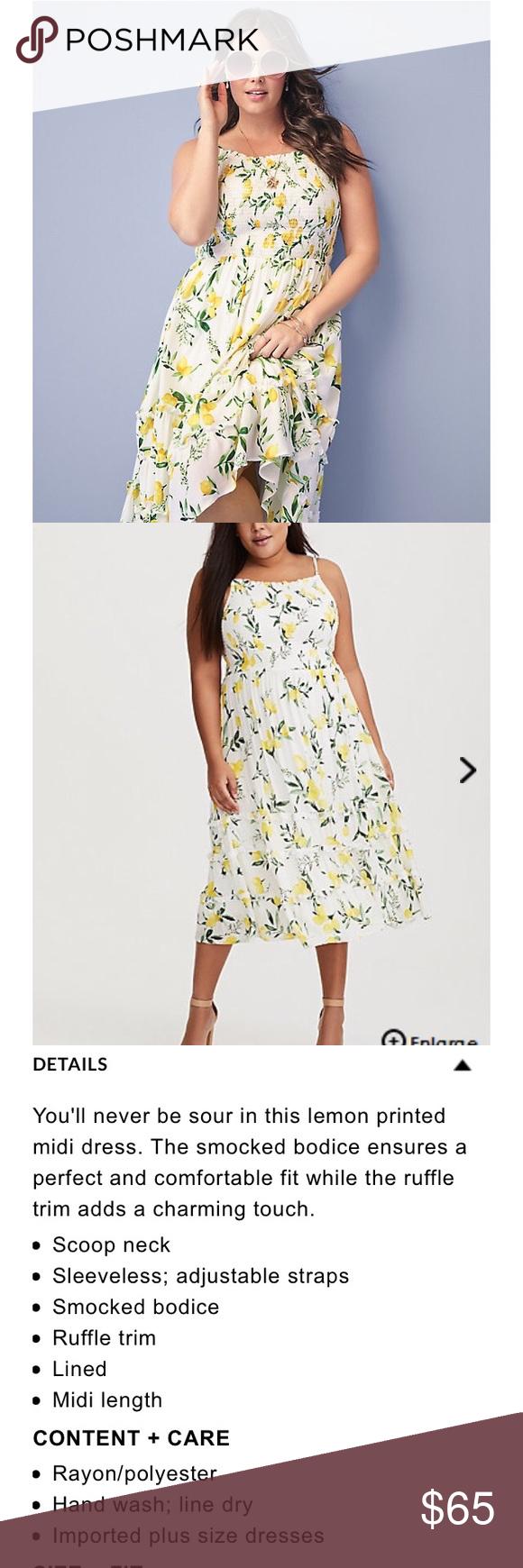 b010a3faa27e Torrid smocked lemon midi dress. NWT Torrid lemon-print midi dress with  smocked bodice