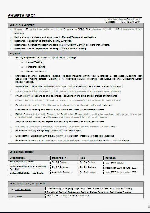 Qtp Test Engineer Sample Resume jkhednet