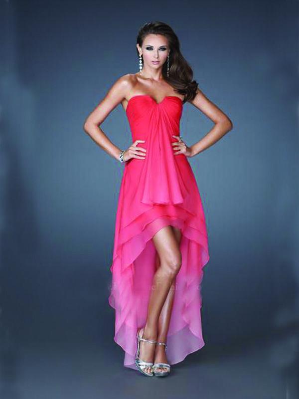 long simple prom dress, gradient prom dress, chiffon prom dress ...