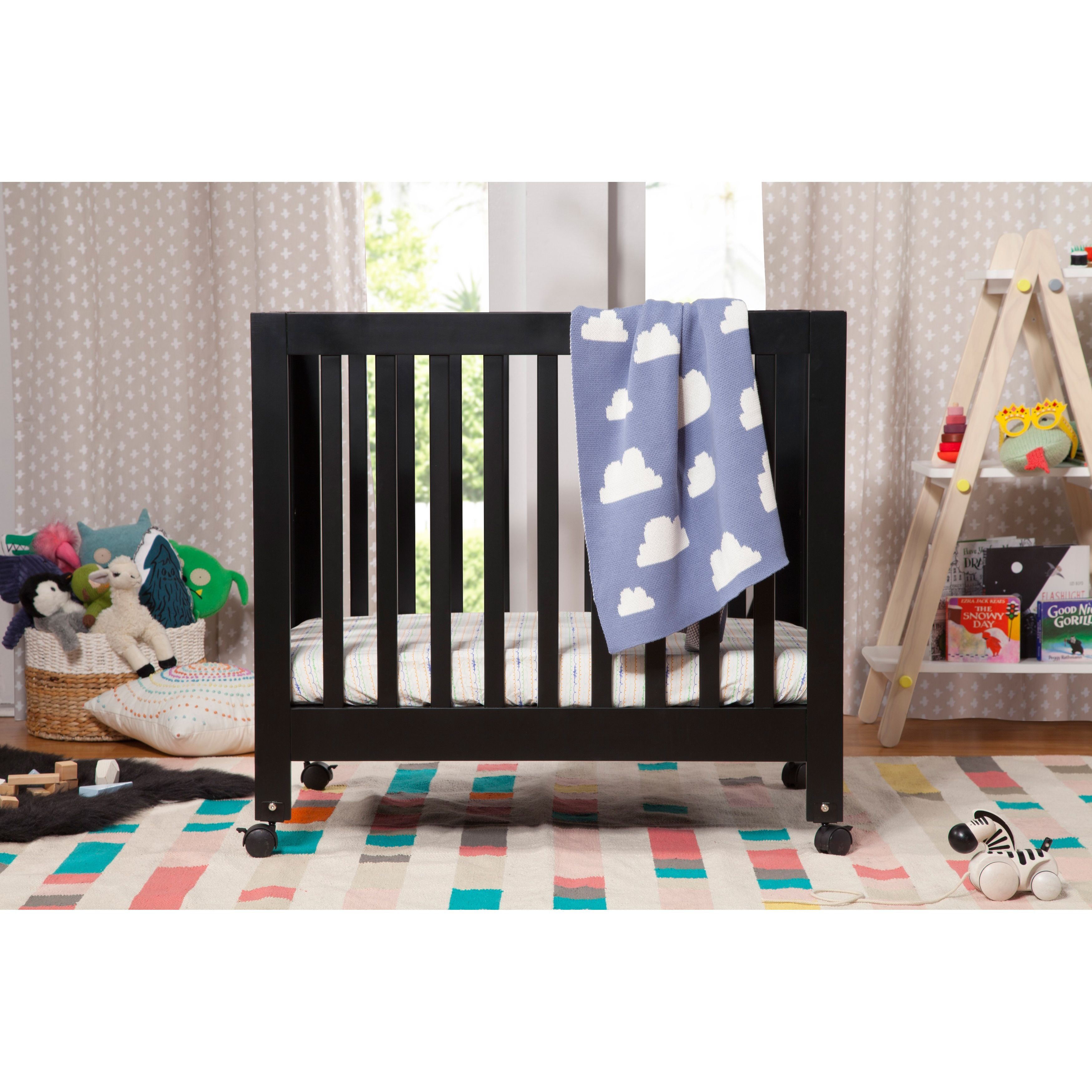 upholstered little origami baby seeds convertible black in crib piper cribs
