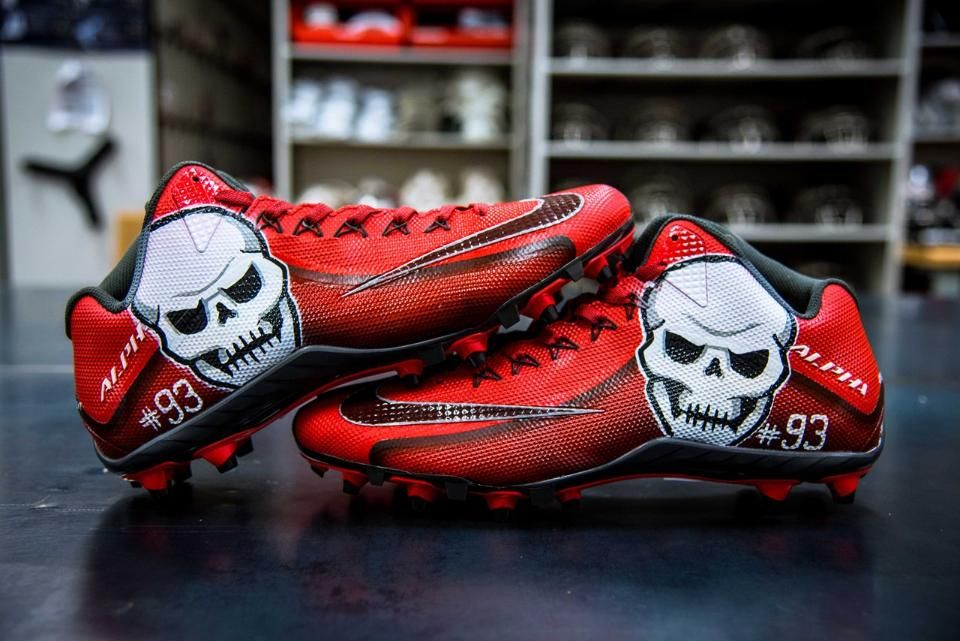 aceecfb8241f ... Michael Crabtree Custom Air Jordan 6 Cleats Nice Kicks Players across  the NFL will wear custom cleats to show their commitment to charitable  causes ...