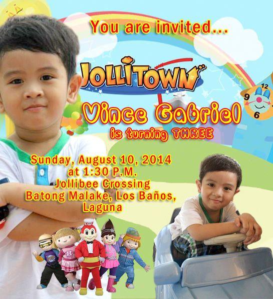 Jollibee Themed Invitation 3rd Birthday Jollibee