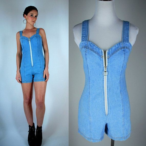 115c810ee90 Vintage 80s Denim Summer Romper   Mini Dress Shorts   Overalls ...