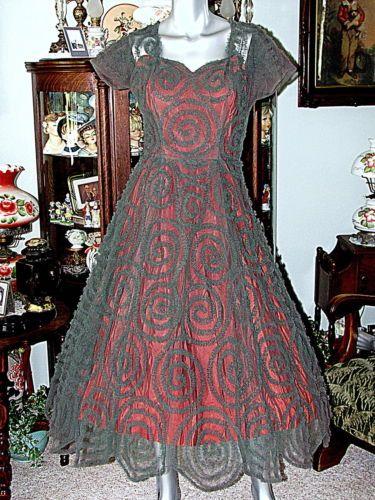 Vtg Jo Copeland Original Designer 40s 50s Textured Tulle Christmas