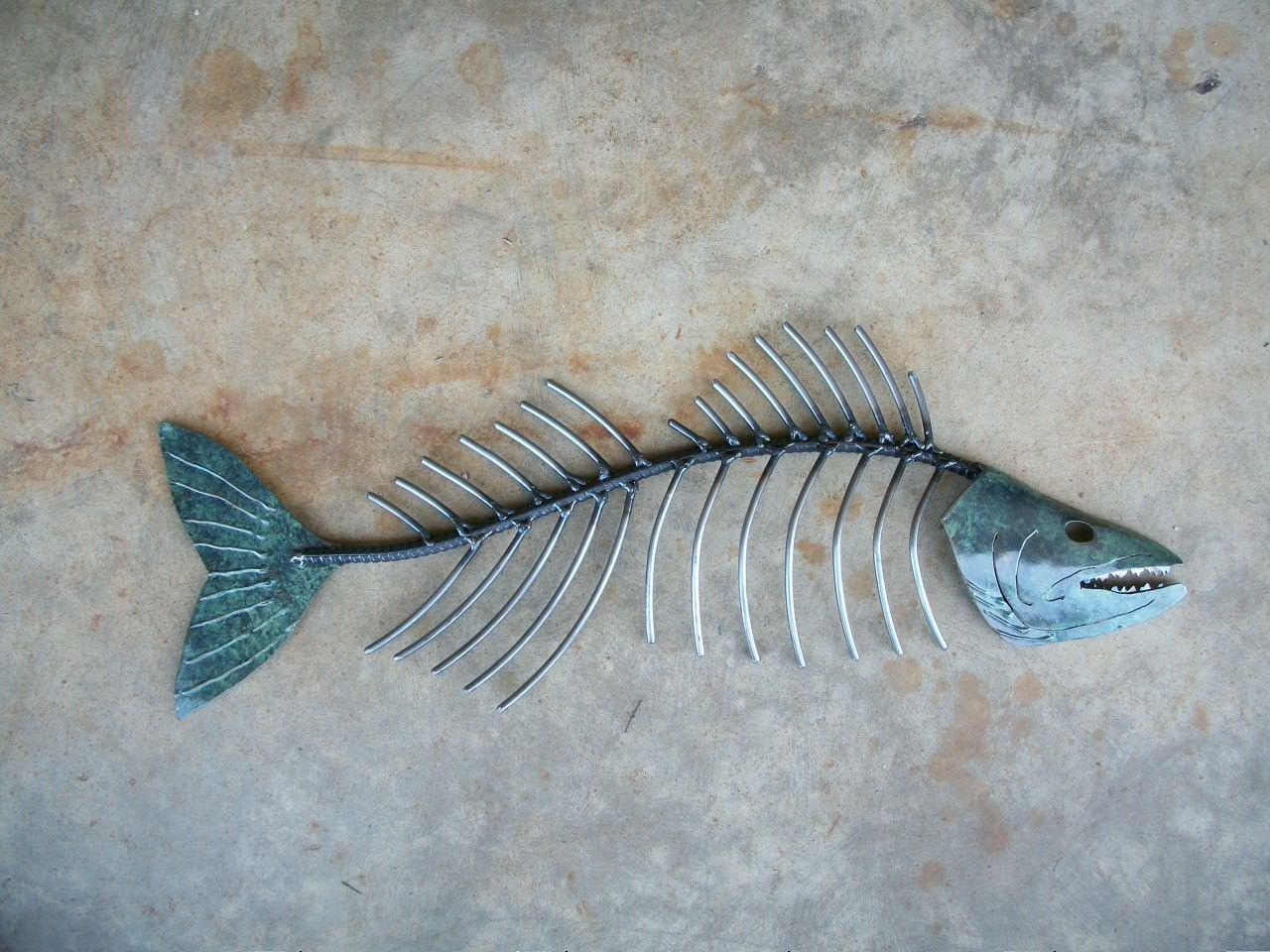 Walleye bone metal fish wall sculpture metal art for Fish metal wall art