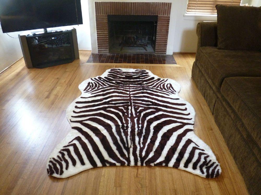Faux Fur Zebra Hide Rug From France 5 X 7 Brown White Fake Zebra Skin Rug Zebra Rug Zebra Skin Rug Faux Zebra Rug