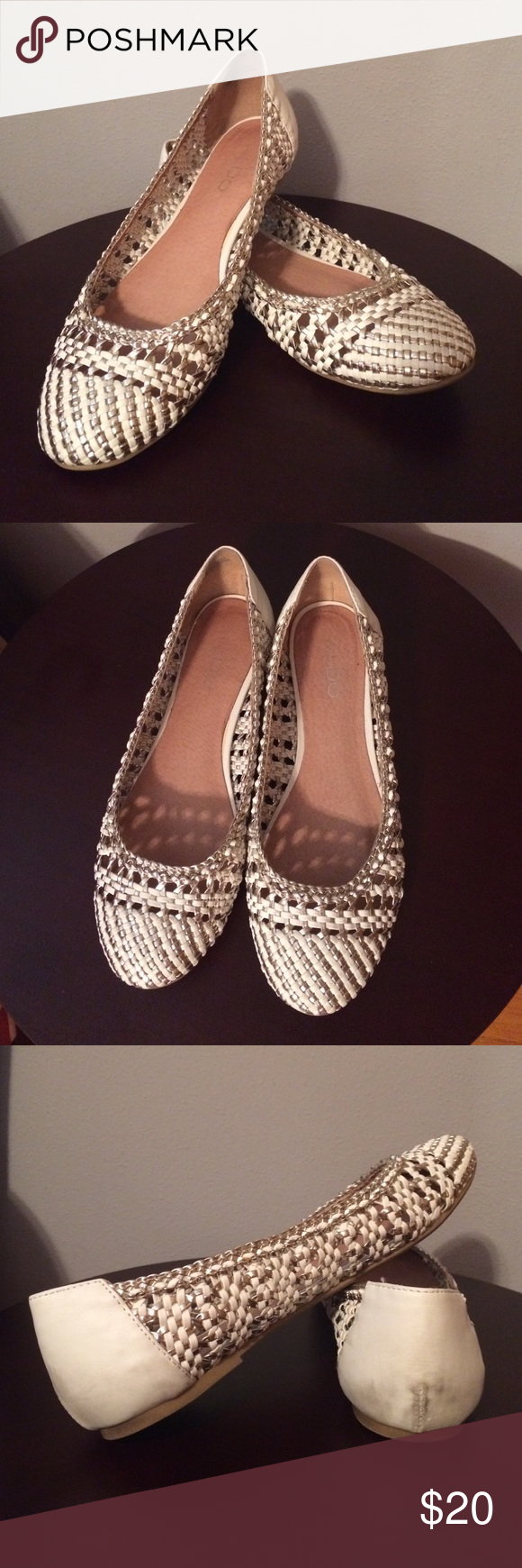 White aldo flats Aldo white and silver weave ballet flats. They are in very excellent condition besides some scuffing in back as shown in picture. Aldo Shoes Flats & Loafers