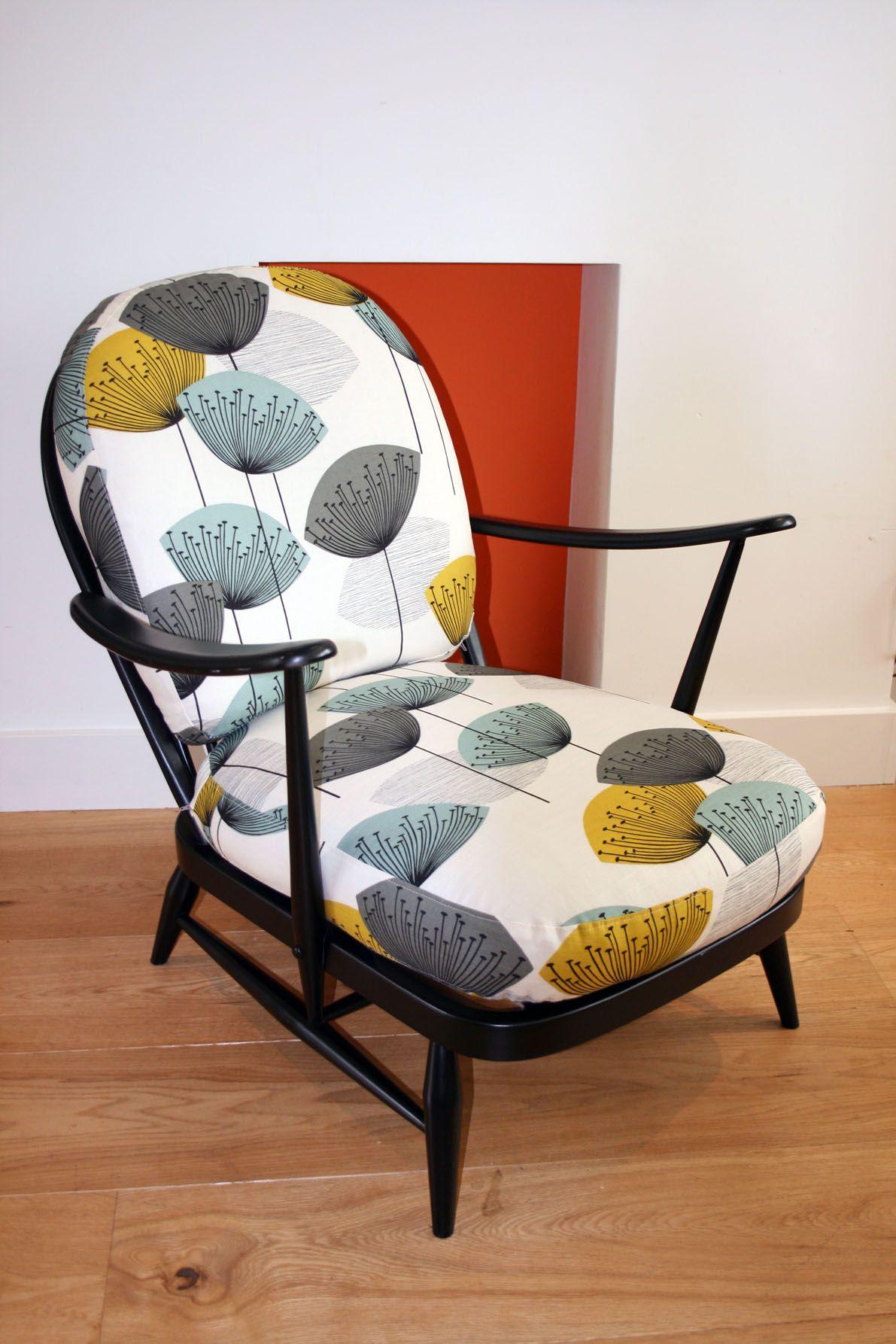 Ercol Windsor Armchair With Sanderson Dandelion Clocks