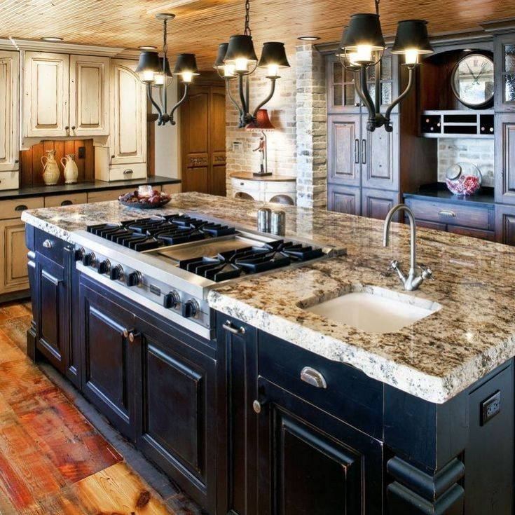 Simple Kitchen Island With Sink And Stove Top Design Photo