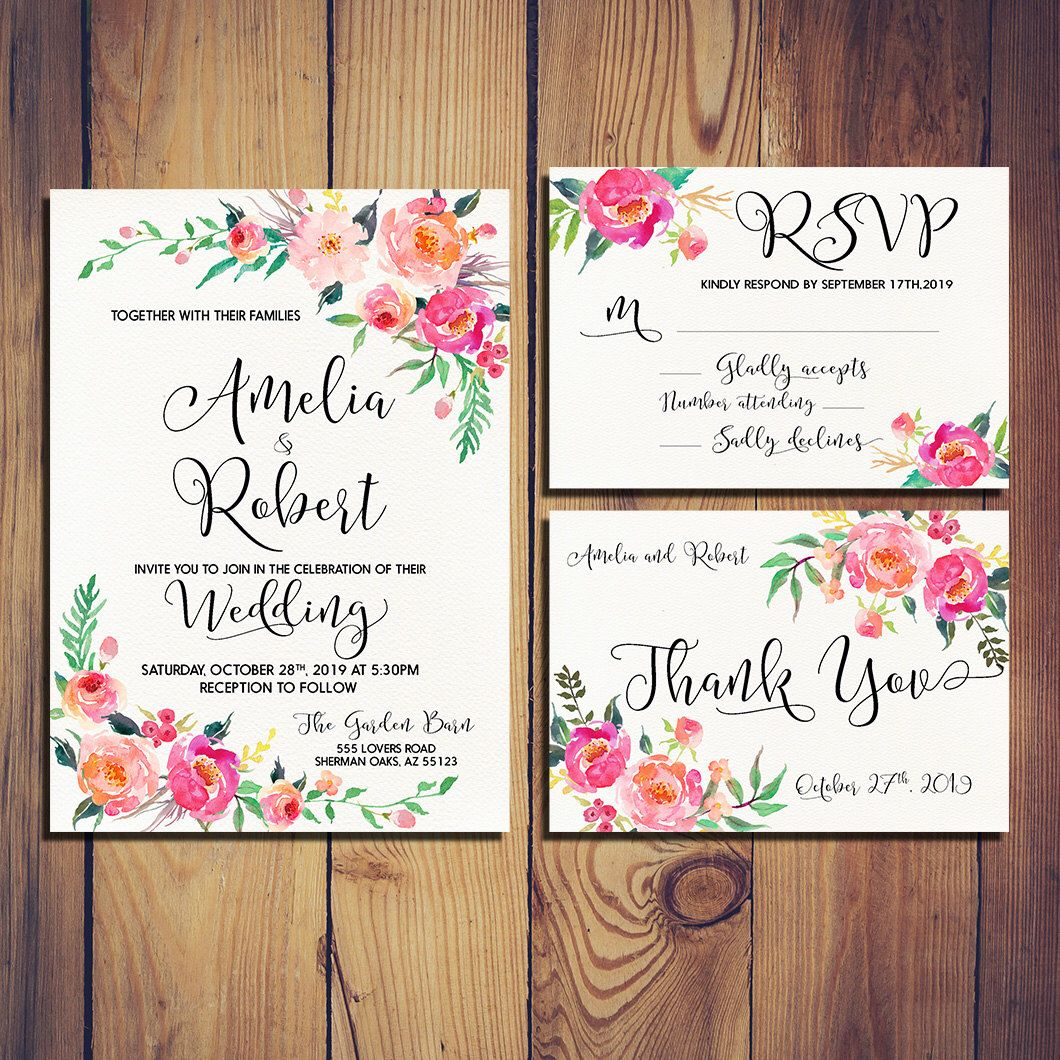 Printable Wedding Invitation Gentle romantic bloom watercolor Set