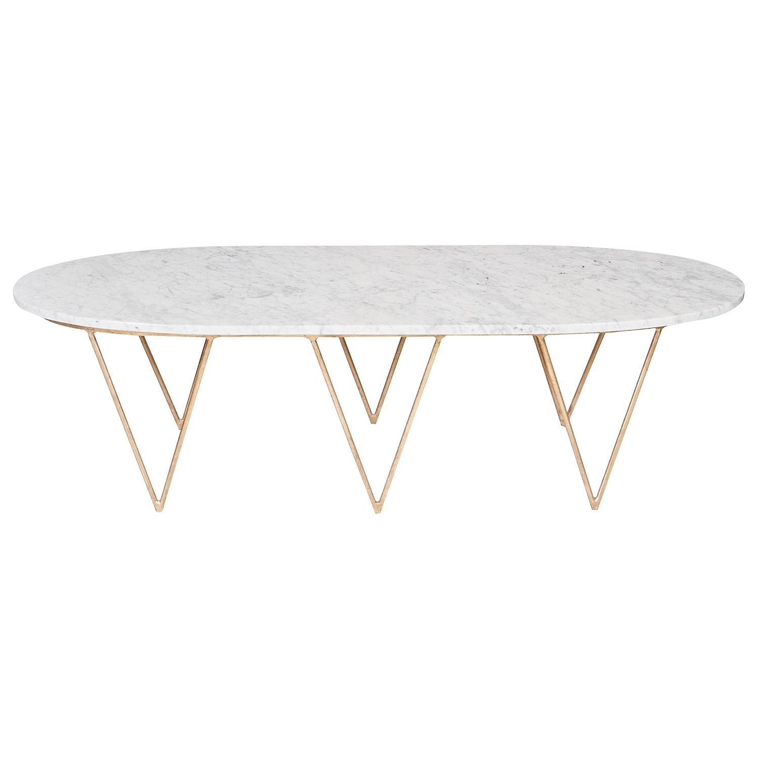 Brass Coffee Table With Marble Top