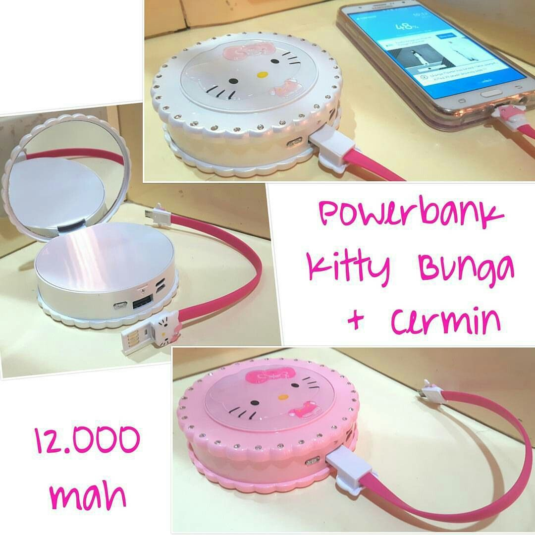 powerbank hk flower + cermin @ 185.000