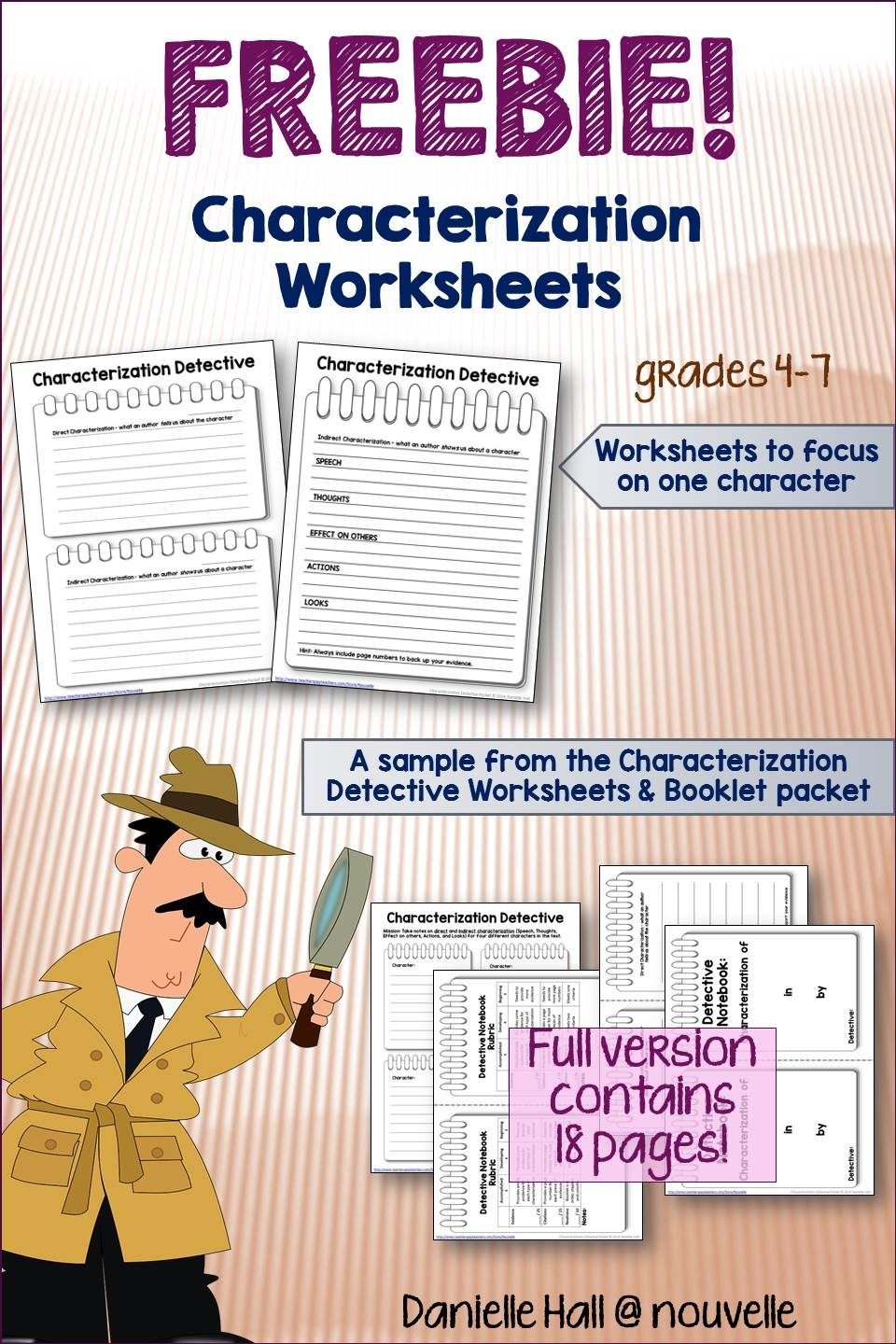 Worksheets Direct And Indirect Characterization Worksheet characterization detective worksheets freebie nouvelle elas freebieslovefeedback students are hot on the trail for examples of direct and indirect with these worksheets