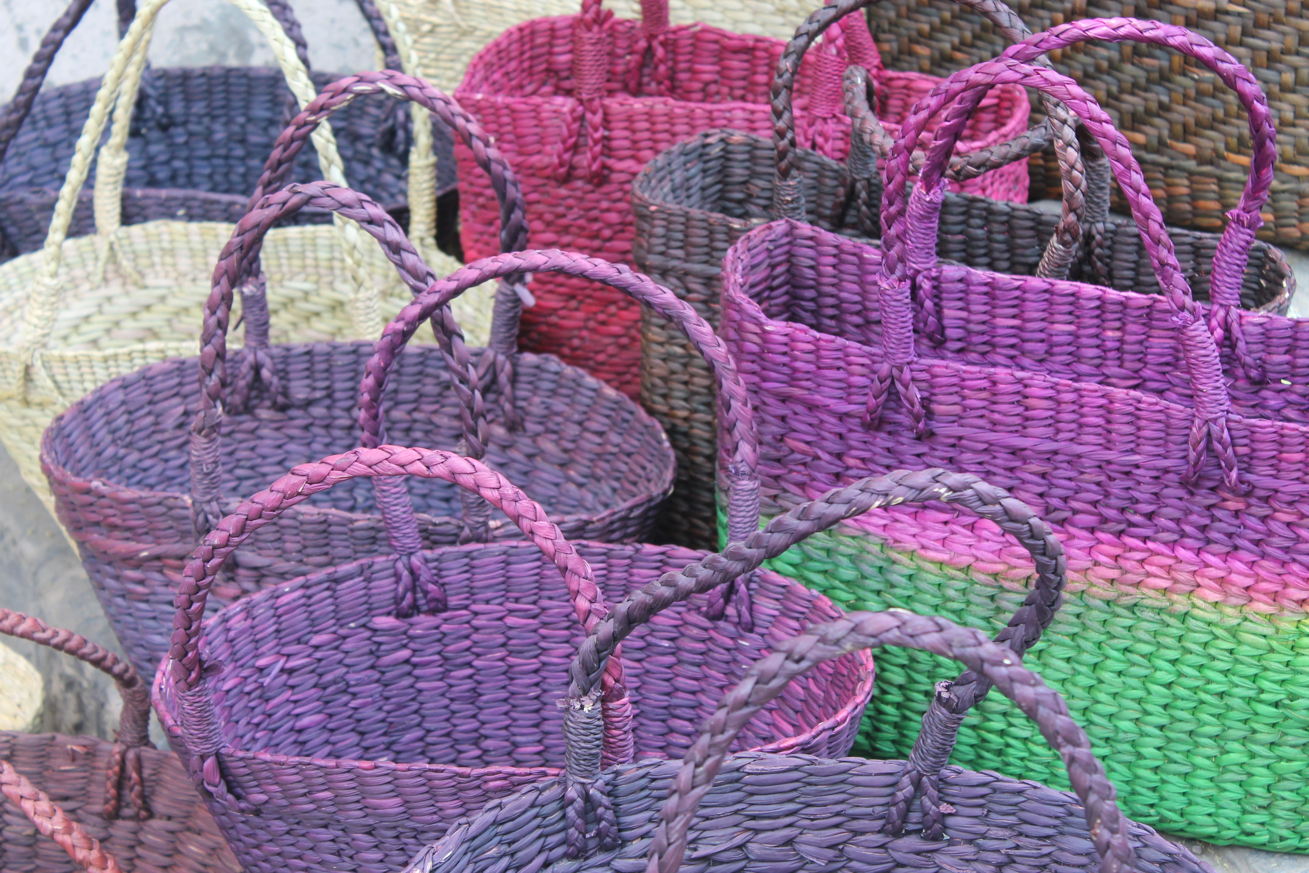 Brightly Colored Baskets For Sale At Dilli Haat Market In New Delhi, India.