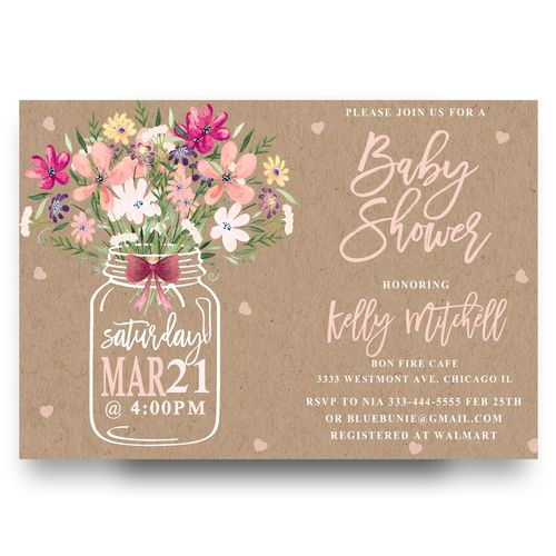 Mason Jar Baby Shower Invitation Mason Jar Flower Flowers Floral