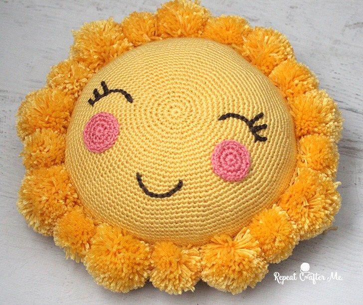 Crochet PomPom Sunshine Pillow for the CYC Pompom Party   Crochet ...