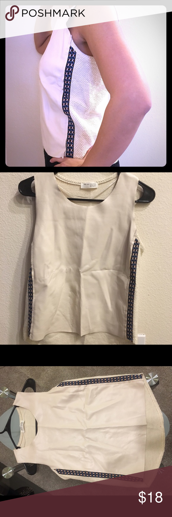 Sleeveless Zara leather top Sleeveless Zara cream leather top. Leather in the from fabric knit detailing in the back. Has blue and orange detailing stitch on both sides. Zara Tops Blouses