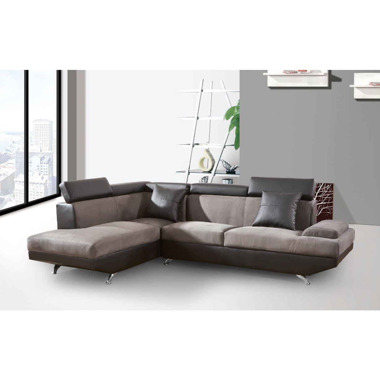 Elena Leather/Microfiber Modern 2 piece Sectional Sofa set (2 Tone ...