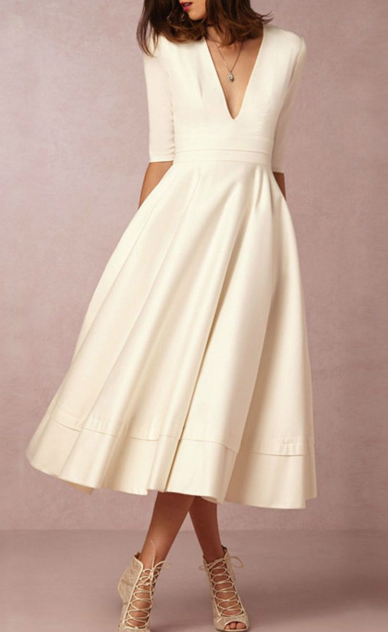 ALine V Neck Half Sleeve Midi Party Dress Wedding Dress