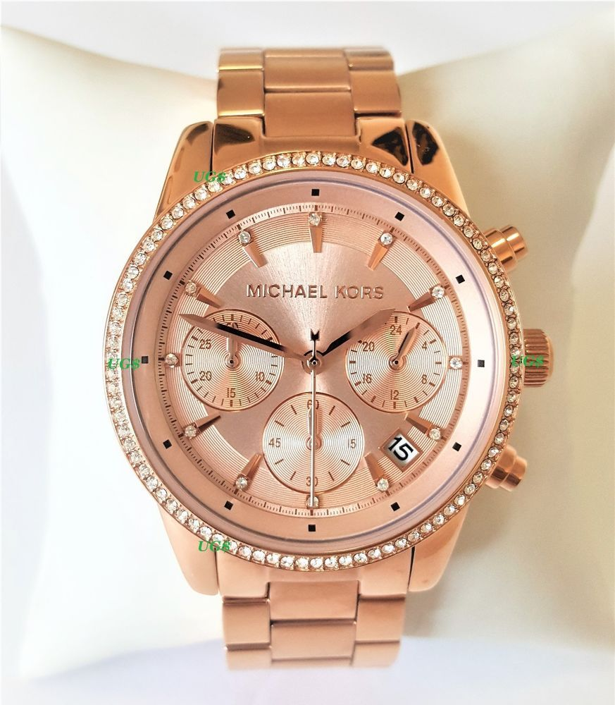 a5302a04b265 Michael Kors Watch Women s Ritz Rose Gold-Tone Chronograph MK6357 Genuine  Glitz