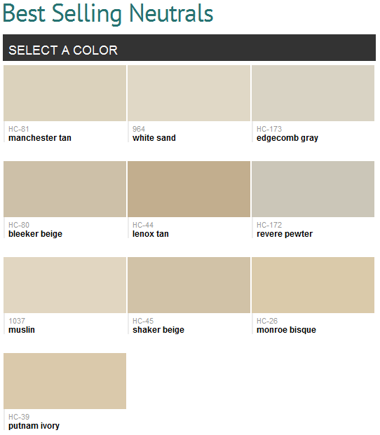 Top Best selling neutrals (Benjamin Moore), smart! Manchester tan and  YU32