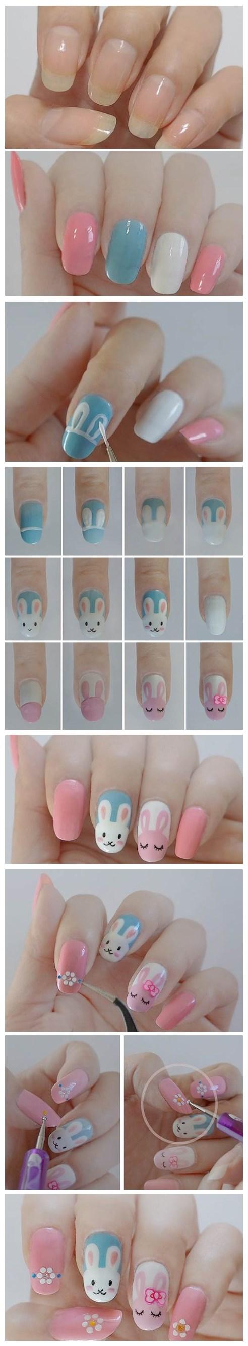 Diy cute easter bunny nail polish manicure design nails
