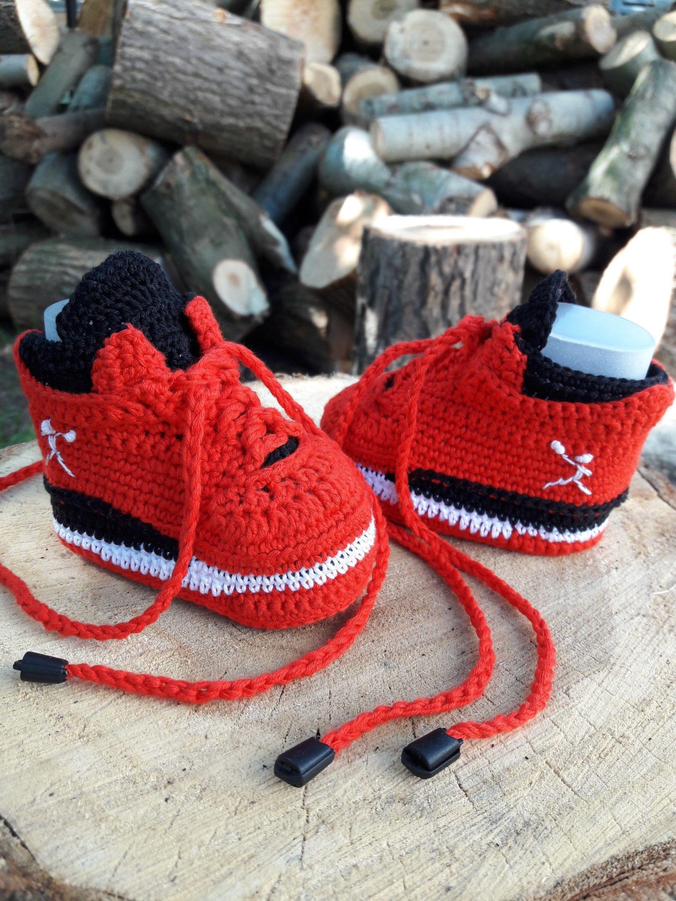 076af61cd5639 Crochet baby shoes infant Jordan.Crochet baby booties.Baby Jordan ...