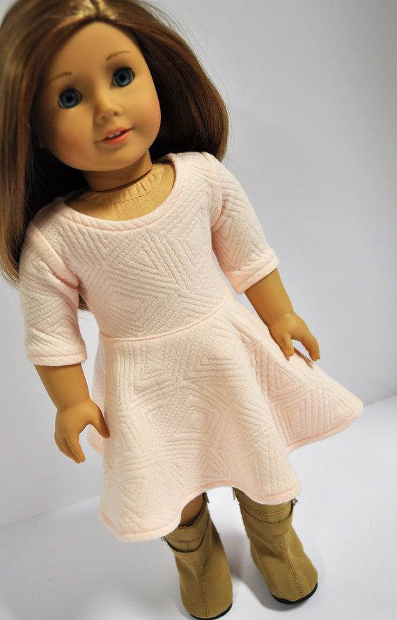 Pink blush 3/4 length sleeved skater dress by CircleCSewing on Etsy. Made using The Versatility Dress pattern. Get it here http://www.pixiefaire.com/products/the-versatility-dress-18-doll-clothes. #pixiefaire #theversatilitydress