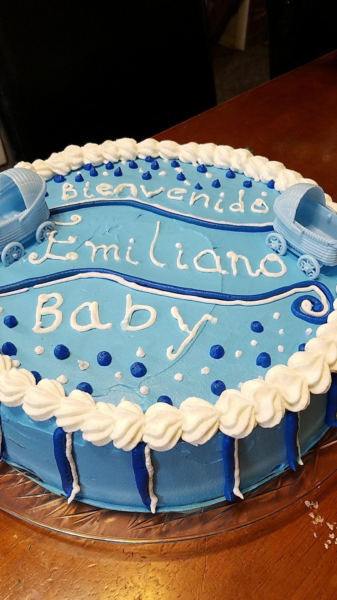pastel para baby shower niño, de betún