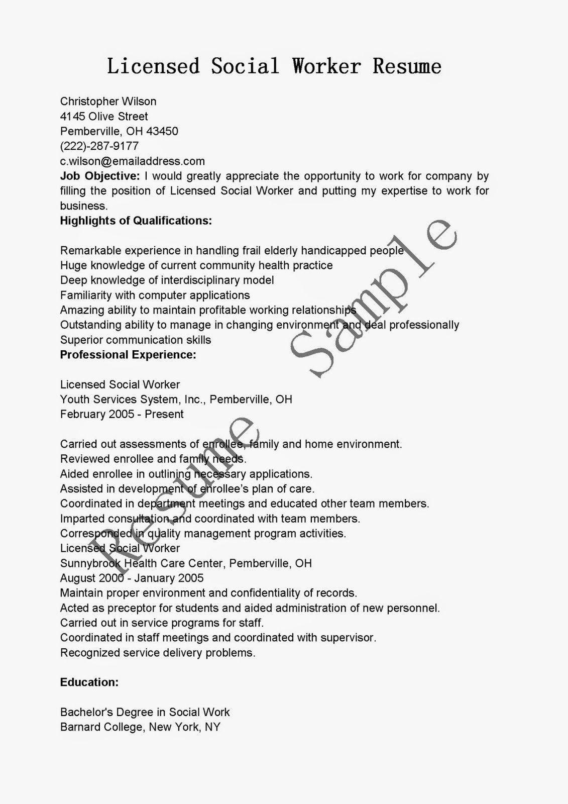 Resume For Social Work Well Designed Resume Samples Licensed Social Worker Resume Sample Of 3 Licensed Social Worker Resume Examples Good Resume Examples
