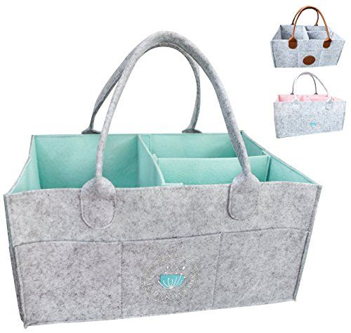 SODIAL Large Diaper Caddy Organizer Baby Nursery Storage Basket With Zipper Lid And Leather Handle Baby Shower Gift Wipes Stacker Bin Holder