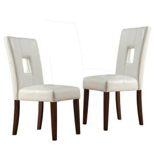 Home Decorators Collection, White Faux Leather Side Chairs (Set of 2), 40874C713W(MTL)[2PC] at The Home Depot - Mobile