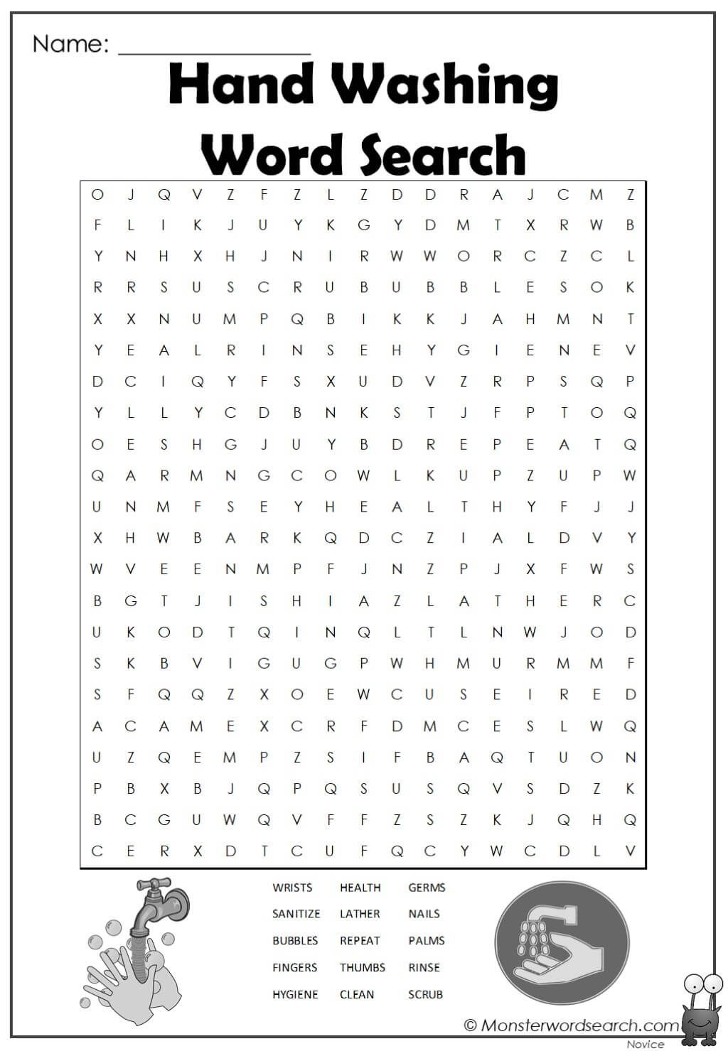 Hand Washing Word Search In
