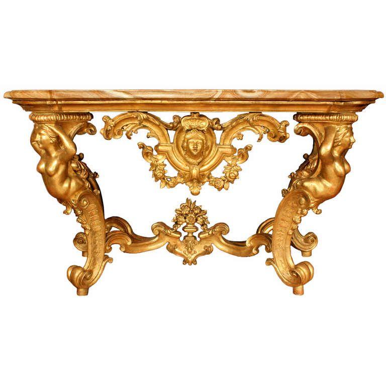 A Italian 18th Century Louis Xv Period Freestanding Genovese Giltwood Console Italian Furniture Antique Furniture Stores Louis Xv Furniture