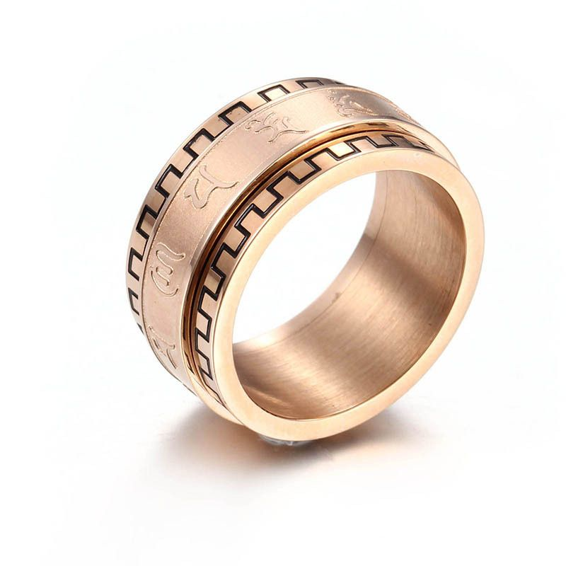 Fashion Titanium Steel Jewelry can turn six words mantra ring men
