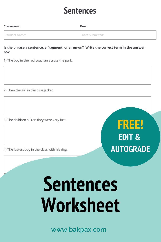 Free Sentences English Worksheet Free English Worksheets Sentences Language Arts Worksheets