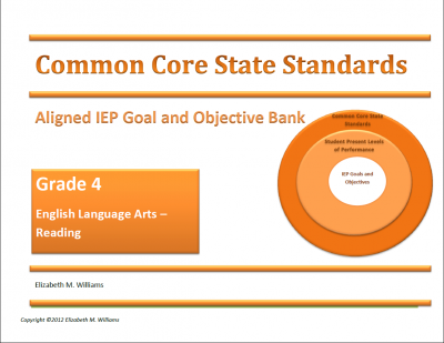 Grades 4-5 COMMON CORE Aligned IEP Goal and Objective Bank  from Time-Saving Teaching Solutions on TeachersNotebook.com -  (156 pages)  - IEP Goal and Objective Bank Aligned to Common Core for Special Education Teachers Intermediate Grades 4-5 Contains IEP goals and objectives written in behavioral terms containing all required components for the subject areas of English Language Arts - Rea