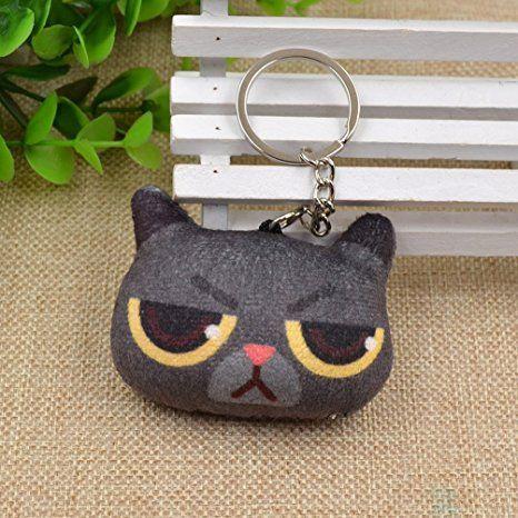 Amazon com: Cute Cat Head Figure Keyring Short Plush Doll