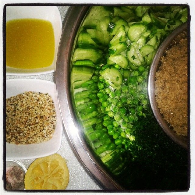 Toasted Hemp seed, quinoa, lemon juice, olive oil, salt and pepper, cucumber, parsley and spring peas. So yummy from Scandi Blog