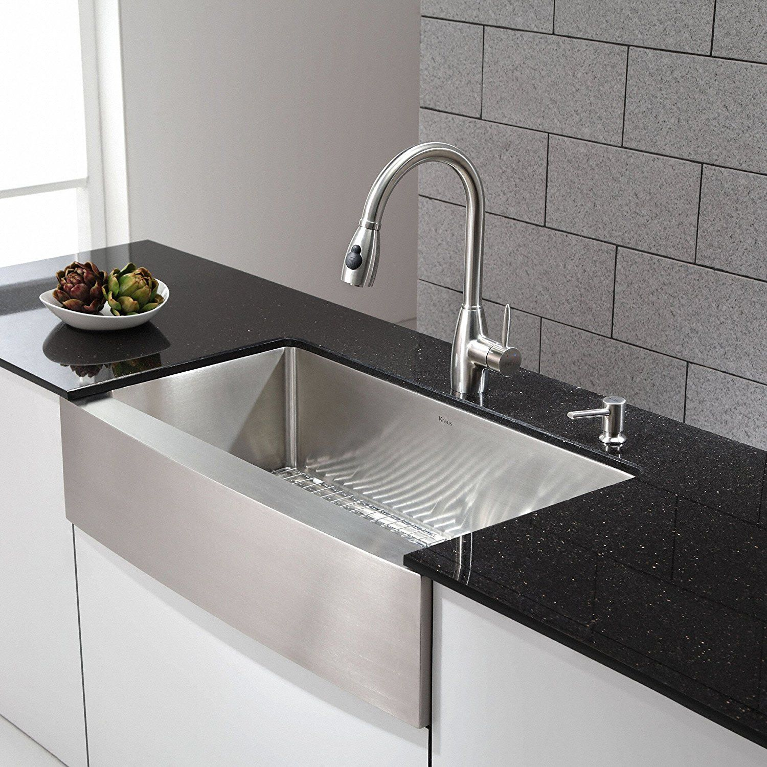 Kraus Khf200 36 Inch Farmhouse A Single Bowl 16 Gauge Stainless Steel Kitchen Sink Front With Drain