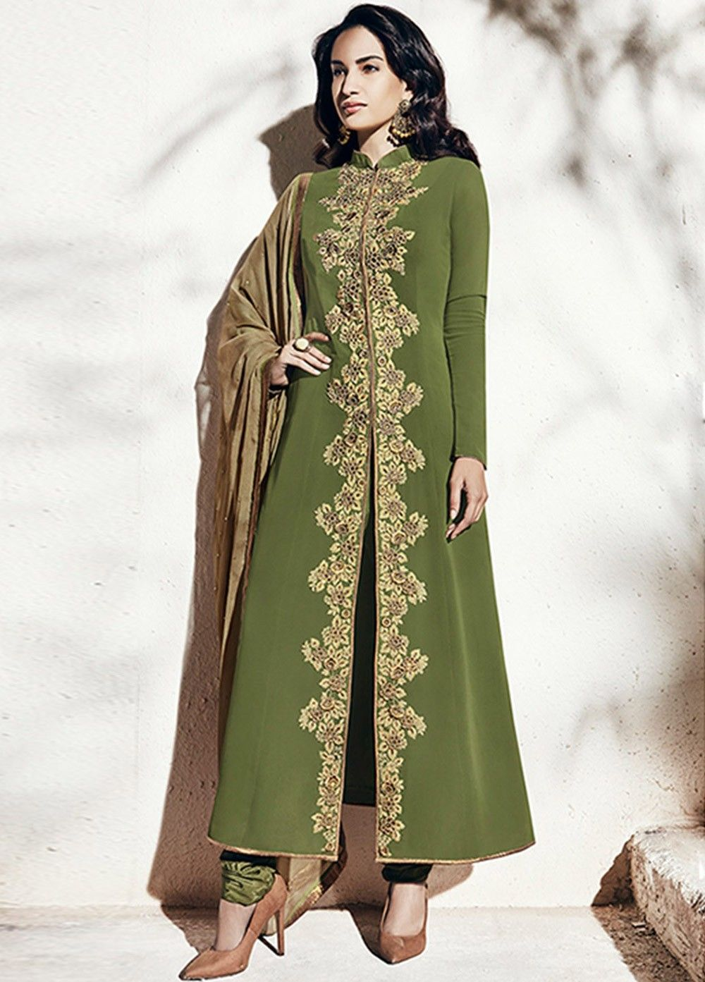 731f4e93c24 Buy Olive green color georgette party wear straight cut salwar kameez at  kollybollyethnics with free worldwide shipping.