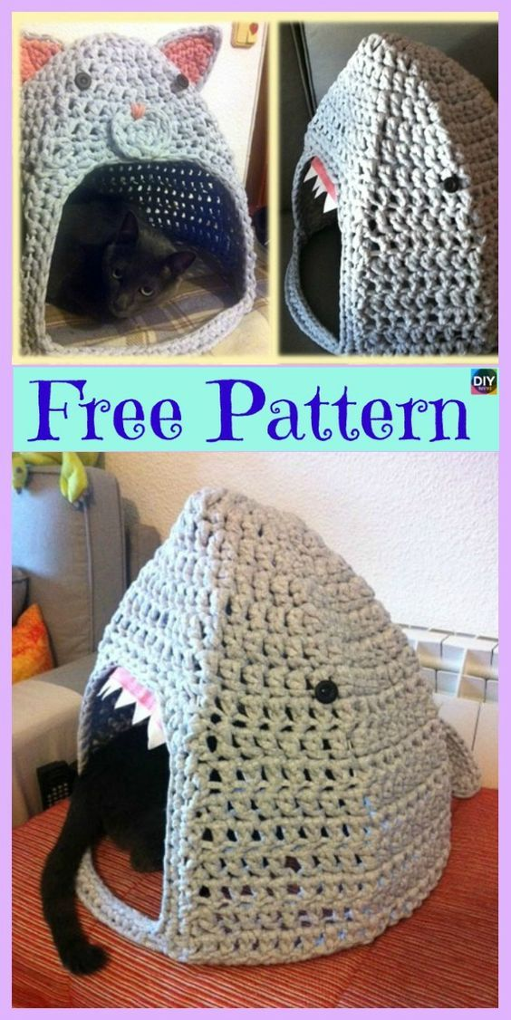 10 Awesome Crochet Cat Bed - Free Patterns (With images ...