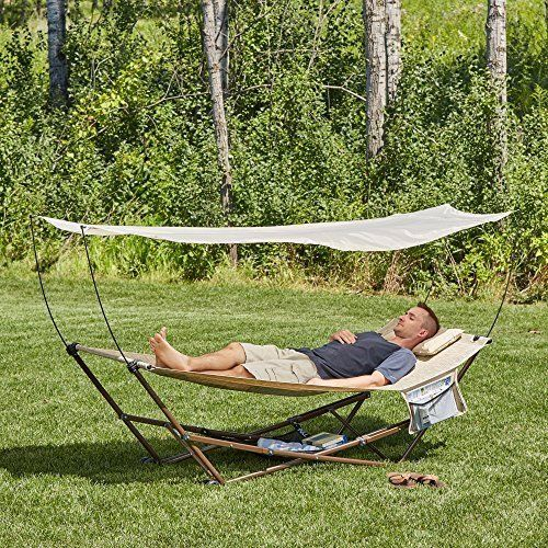 Medium image of details about portable outdoor hammock chair with 4 point stand  u0026 canopy
